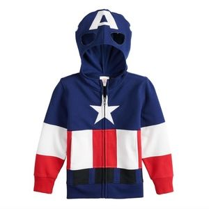 Marvel Captain America Zipper Mask Hoodie 2T NEW